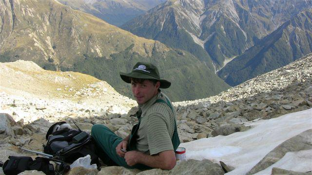Simon resting before the hike back to camp