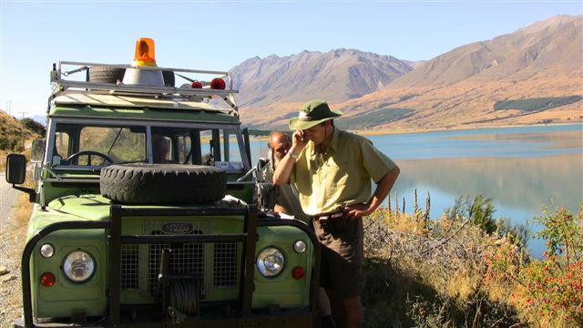 Paying bills over the cellphone near Lake Ohau