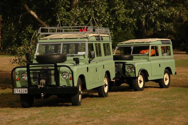 The Land Rovers after their repaint is complete