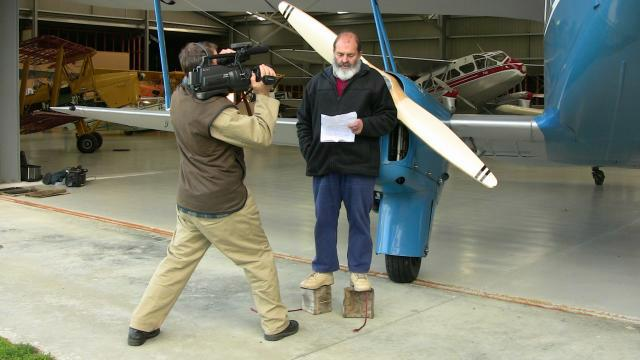 Bobbie explaining to the camera about what we have been doing with ZK-AYR